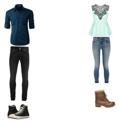 """""""First date"""" by mandieluver on Polyvore featuring City Chic, J Brand, Steve Madden, LE3NO, Alexander McQueen and Converse"""