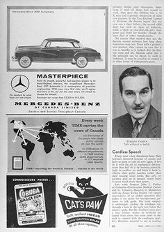 1959 Mercedes Benz 300 Automatic Sedan original vintage advertisement. Masterpiece. From its smooth, powerful fuel injection engine to its hand finished interiors, the magnificent Mercedes Benz 300 Automatic is a masterpiece of precision engineering. The standard by which lesser cars are judged. Passenger cars range from $3,300 to $12,500.
