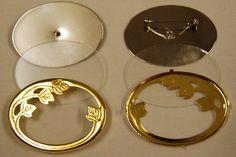 Glasmalbrosche oval 50x35 mm, Rahmen vergoldet