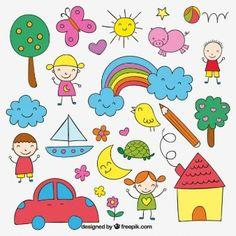 Children Vectors, Photos and PSD files Sweet Drawings, Art Drawings For Kids, Drawing For Kids, Easy Drawings, Art For Kids, Children Drawing, Doodle Art, Doodle Drawings, Doodles Kawaii
