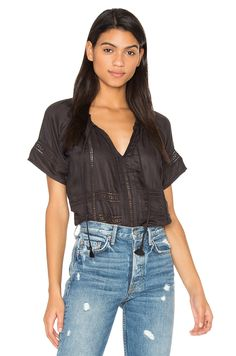 AMUSE SOCIETY Carla Woven Top in Black Sands