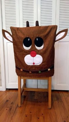 Reindeer Chair Cover By Ryerson, Annette - x Project Time: Hour… Christmas Sewing, Christmas Projects, Holiday Crafts, All Things Christmas, Winter Christmas, Christmas Time, Christmas Chair Covers, Chair Back Covers, Chair Backs