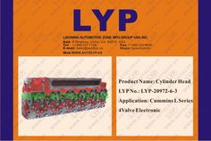 2LYP-20972-6-3CYLINDER HEADCABEZA DE CILINDROREPLACEMENT FOR/REEMPLAZO PARACUMMINSL SERIES 4VALVE ELECTRONIC