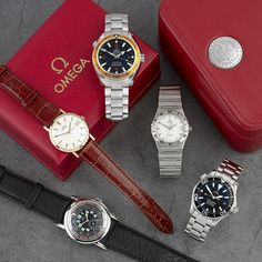 A selection of Omega watches featuring in the Vintage & Modern Wrist Watches auction on Monday 15th July