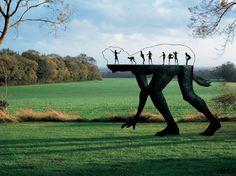 Modern outdoor garden sculpture