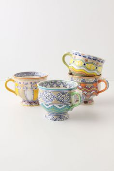 Anthropologie Loule mugs - great colors and patterns. My Coffee, Coffee Cups, Tea Cups, Coffee Latte, Drink Coffee, Morning Coffee, Sculptures Céramiques, Cute Mugs, Pretty Mugs