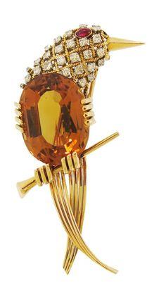 Citrine and Diamond Bird Gold Brooch || DK Bressler & Co., Inc. New York, NY, 10036