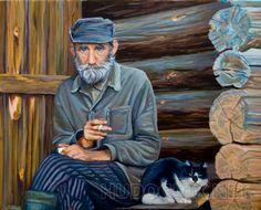 Старик и кошка Картина нарисована по фотографии из интернета. Автор фотографии мне не известен, но я благодарю его за столь колоритный образ дедушки.