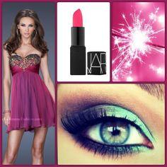 La Femme Style 19446 dark magenta - magenta dress - short pink prom dress - pink lips - pink fireworks - beaded bodice dress - shimmer dress - nars pink lipstick - eye makeup - magenta inspired eyes - green eyes