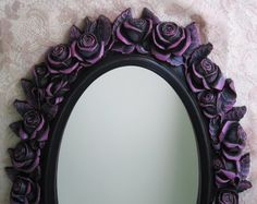 Black Rose Wall Mirror Vintage Oval Fushsia by WildMountainStudio, $195.00