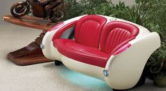 """Nothing says classy Americana like a 1957 'Vette'. As comfortable as this sofa is appealing - it also has a sense of """"cool"""" when it lights up from the underside Under the upholstery you'll find our ex"""
