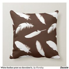 White feather print on chocolate brown throw pillow Brown Throws, Brown Throw Pillows, Brown Cushions, Beige Pillows, White Feathers, Feather Print, Decorative Cushions, Ceramic Painting, Colorful Decor