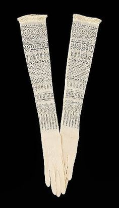 Knit lace evening gloves 1900-1910