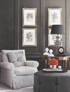 Silver frames on charcoal walls. bryn alexandra