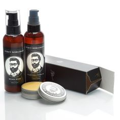 Percy Nobleman's Essential bundle. Beard oil, Beard wash and moustache wax. Order now at www.percynobleman.com and save over £6!