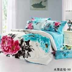 blue peonies Oriental Style Chinese Floral Painting Red and Blue Peony Rose Bedding Sets Queen/King Size Duvet Cover Bed Sheets Pillowcase King Size Comforters, King Size Duvet Covers, Queen Bedding Sets, Duvet Cover Sets, Toile Bedding, Floral Bedding, Bed Sets, Cama Floral, Textiles