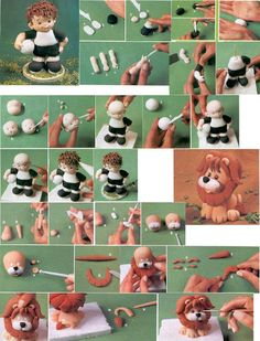 fondant soccer player and lion Fondant Icing, Fondant Toppers, Fondant Olaf, Cupcake Toppers, Cake Topper Tutorial, Fondant Tutorial, Cake Decorating Techniques, Cake Decorating Tutorials, Clay Projects