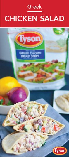 Bring some much-needed flavor to your lunch prep with the help of this recipe for Greek Chicken Salad Pitas. This meal idea starts off with a creamy Greek yogurt base and plenty of Mediterranean ingredients—kalamata olives and feta cheese anyone? Paleo Dinner, Dinner Recipes, How To Cook Chicken, Cooked Chicken, Greek Chicken Salad, Cooking Recipes, Healthy Recipes, Kalamata Olives, Mediterranean Recipes