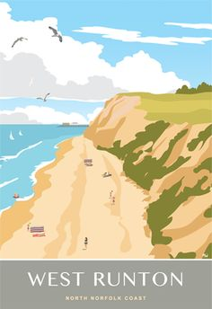 A view of West Runton beach onthe North Norfolk Coast Posters Uk, Railway Posters, Poster Prints, Travel Stamp, Norfolk Coast, Cromer, English Countryside, Vintage Travel Posters, Places To Visit