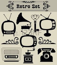 vintage television: objets rétro Set Vector Illustration