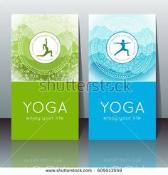 Vector Yoga Cards With Yogi Silhouette Mountain Landscape Ethnic Indian Pattern And Sample Text