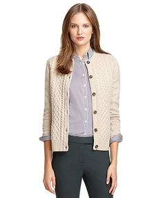 Saxxon™ Cable Cardigan - Brooks Brothers
