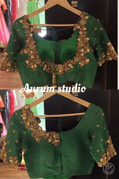 Fascinating blouse works for silk sarees. Beautiful maggam , cut work and jumki…