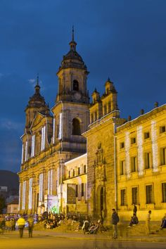 Colombia, Bogota, La Candelaria, Plaza De Bolivar, Cathedral at night