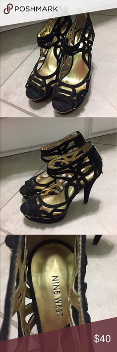 Nine West Black Cut Out Heels Nine West black heels with cut outs and gold details, very good condition only worn a couple times. Size 8 Nine West Shoes Heels