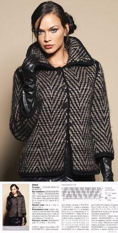 Вязание спицами - Кардиган в елочку - имитация твидовой ткани.