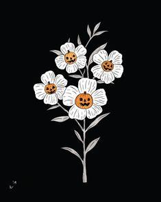 Beautiful flowers with sweet pumpkins. Halloween Tattoo, Halloween Art, Vintage Halloween, Fall Wallpaper, Halloween Wallpaper, Pumpkin Tattoo, Spooky Tattoos, Pumpkin Flower, Halloween Illustration