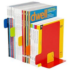 Index Bookends. Designed like index tabs. Great visual way to organize your magazines or books on a bookshelf or desktop.