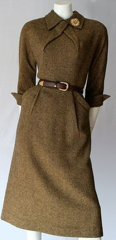 1950s Pat Hartley - Love this classic vintage, elegant soft brown dress and the collar detail