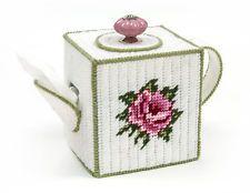 Mary Maxim Teapot Tissue Box Cover Plastic Canvas Kit