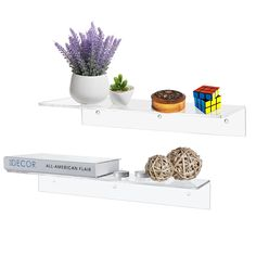 17 Inch Contemporary Clear Acrylic Floating Shelf / Wall Mounted Display Organizer, Set of 2 ** Quickly view this special  product, click the image : Floating Shelves