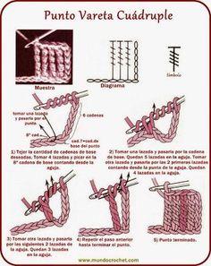Crochet para Principiantes Crochet Diagram, Filet Crochet, Crochet Motif, Crochet Flowers, Crochet Stitches For Beginners, Crochet Stitches Patterns, Crochet Basics, Crochet Cord, Diy Crochet