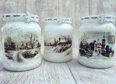 Wine Bottle Crafts, Mason Jar Crafts, Bottle Art, Mason Jars, Christmas Decoupage, Christmas Jars, Decoupage Jars, Decoupage Ideas, Handmade Christmas Decorations