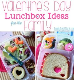 Easy Valentine's Day Lunch box Ideas for the family - packed with @EasyLunchboxes FamilyFreshMeals.com