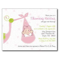 baby shower postcard invitations for girls | Baby Shower Invitation for Baby Girl Pink Stork Post Card | Zazzle.co ...