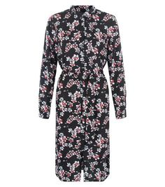 Black Floral Print Midi Shirt Dress | New Look