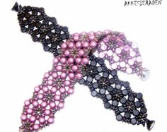English pattern for the  Ribbon Bracelet Zig Zag with super