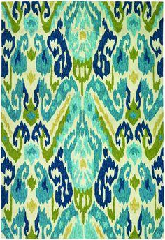 RugStudio presents Couristan Covington Delfina Azure/Lemon Hand-Hooked Area Rug