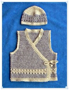 Crochet vest and hat.