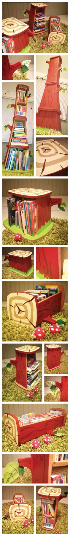 Log Books : DIY MDF book storage for our boy's woodland wonderland, with integrated reading stool and page holder branches ideal for storytime!