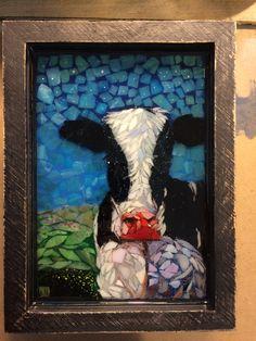 Stained glass mosaic Holstein cow courtesy of Kickin' Glass Kansas.