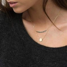 Trendy Multi-layer stainless steel Crystal pendants statement necklace – klozetstyle.com Crystal Pendant, Crystal Necklace, Beaded Necklace, Layered Necklace, Pearl Stud Earrings, Pearl Studs, Engraved Necklace, Bar Necklace, Double Chain