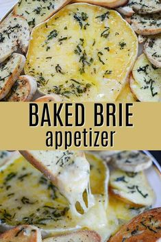 Our Baked Brie appetizer is drizzled with olive oil and fresh rosemary, thyme, basil, and sage. Then baked until melty and delicious, and served with a toasted baguette. It makes the perfect holiday appetizer or game day super bowl party! Baked Brie Appetizer, Appetizer Dips, Yummy Appetizers, Appetizer Recipes, Brie Cheese Recipes, Baked Brie Recipes, Garlic Recipes, Hummus, Queijo Cottage