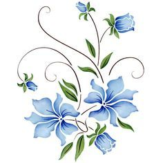 Discover thousands of images about ideas for painted rocks flowers Stencils, Stencil Painting, Fabric Painting, Stencil Patterns, Embroidery Patterns, Hand Embroidery, Folk Art Flowers, Flower Art, Paint Designs