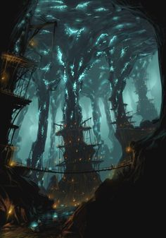 View an image titled 'Deepstrike Mines Art' in our Rift art gallery featuring official character designs, concept art, and promo pictures. Fantasy City, Fantasy Places, Fantasy World, Dark Fantasy, Fantasy Art Landscapes, Fantasy Landscape, Landscape Art, Fantasy Concept Art, Fantasy Artwork