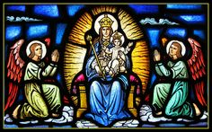 Madonna and Child Stained Glass Window at Saint Jude's Catholic Church, Hopatcong, New Jersey